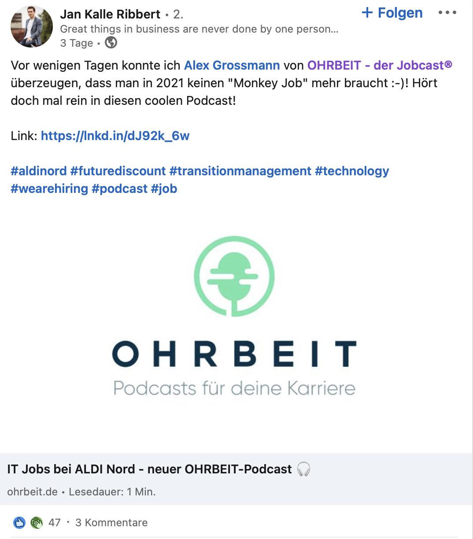 LinkedIn Beispiel ALDI Nord - Jan Kalle Ribbert